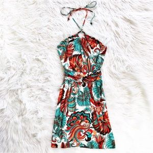Milly printed halter neck dress